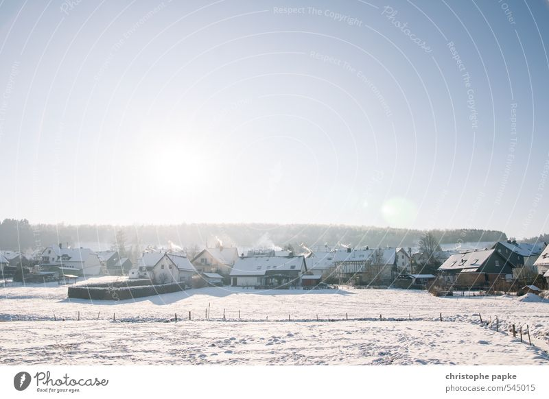 Cold and clinking Sunlight Winter Beautiful weather Ice Frost Snow Field Village Deserted House (Residential Structure) Freeze Idyll Russia Smoke Freezing cold