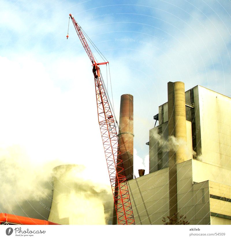 power plant Crane Building Exterior shot colorrik Chimney Steam Industrial Photography clouds