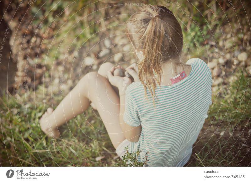 Human being Child Nature Summer Hand Girl Environment Life Feminine Grass Hair and hairstyles Stone Healthy Head Legs Feet