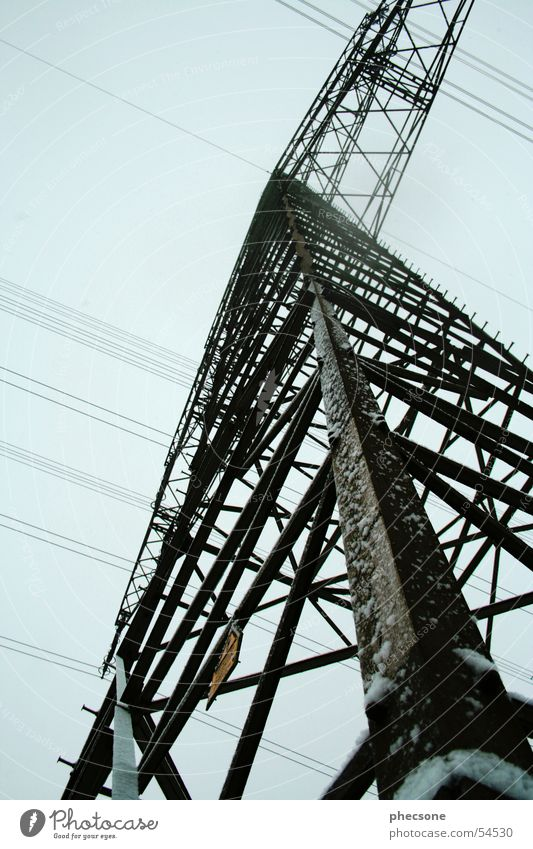 power poles Electricity pylon Worm's-eye view Sky Energy industry Blue worms eye