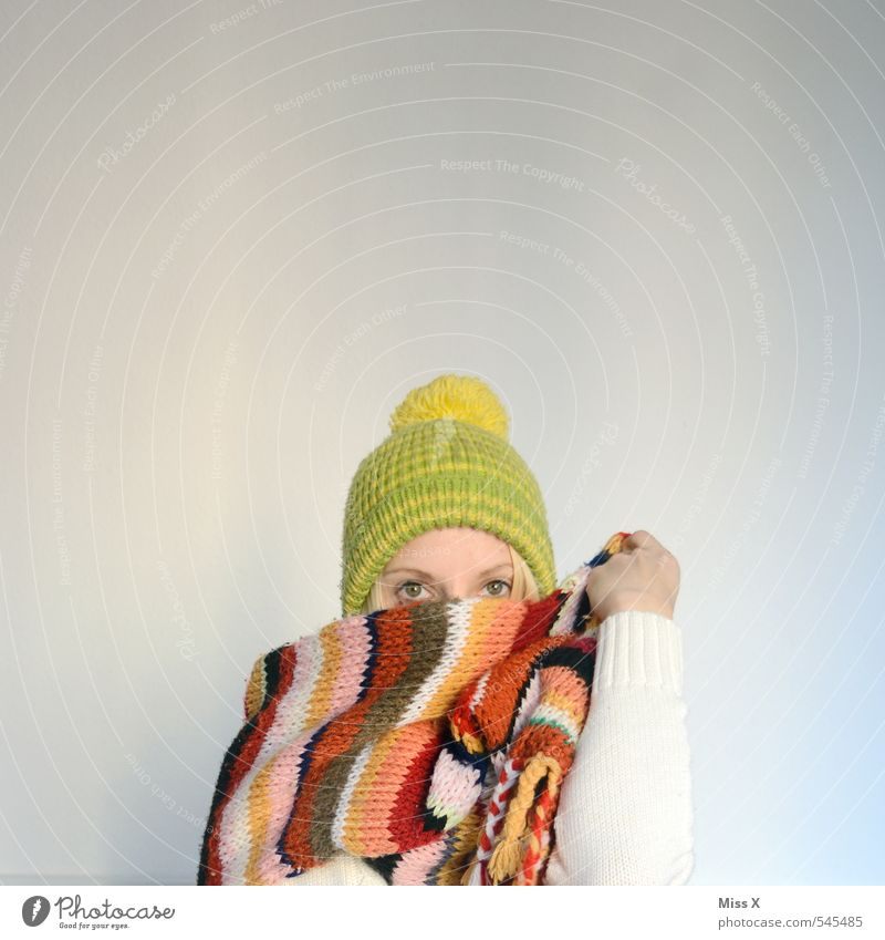 winter Knit Feminine Young woman Youth (Young adults) 1 Human being 18 - 30 years Adults Winter Fashion Clothing Scarf Cap Cold Cuddly Warmth Winter clothing