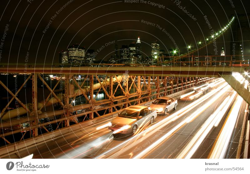 brooklyn bridge Brooklyn Manhattan Town Beige High-rise blur night construction cars big capitol of the world Orange lights traffic street