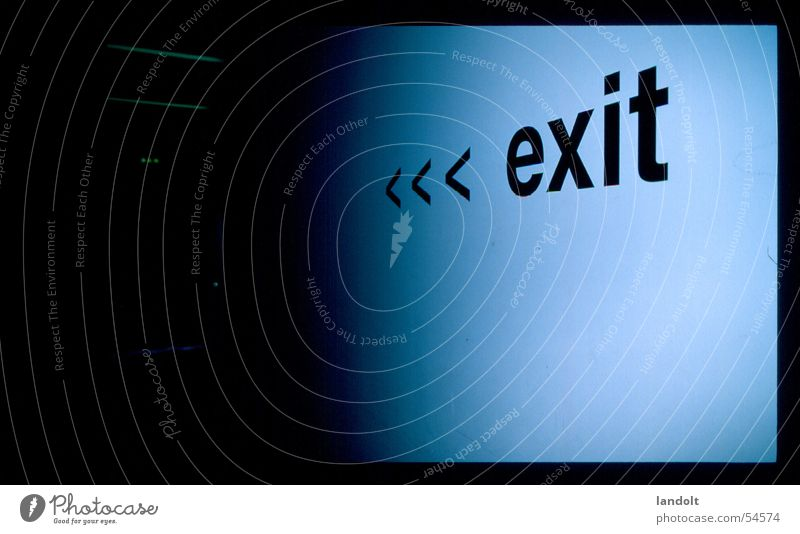 Blue Death Empty Way out Ask Whereto World exposition Direction signs
