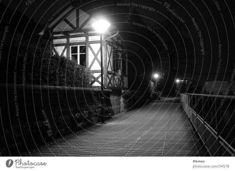 timber-framed house Night Lantern Half-timbered house Dark Calm Hedge Wall (barrier) Lanes & trails Black & white photo Coast