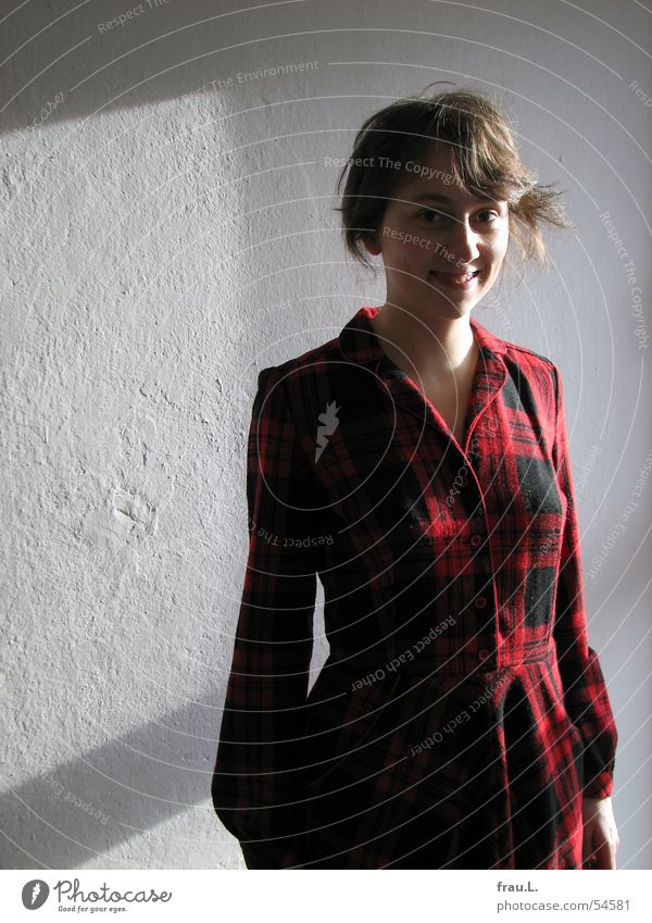 Woman Human being Nature Red Wall (building) Window Laughter Clothing Happiness Dress Delicate Checkered Stewart tartan
