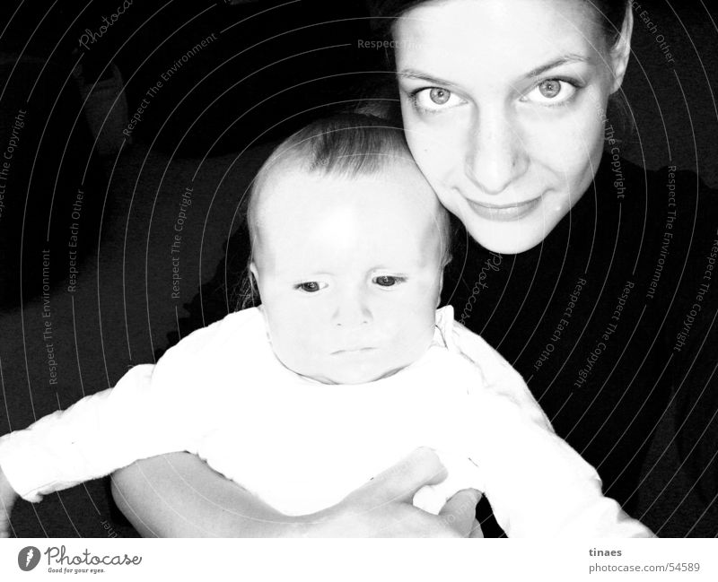 done Woman Feminine Baby Toddler Child Girl Embrace Cuddling Black & white photo Face Eyes Nose Mouth female little