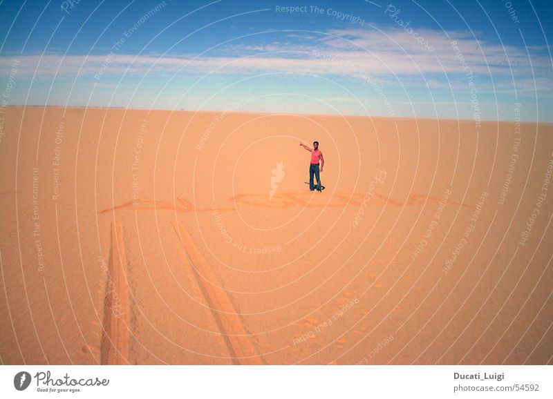 Sky Loneliness Far-off places Sand Horizon Africa Desert Tracks Border Navigation Sahara Right ahead Navigation system Niger Algeria Border checkpoint