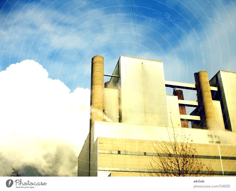 power plant Factory Exterior shot Sky Blue Steam Power Industrial Photography Chimney clouds