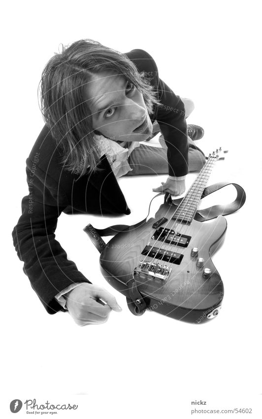 rocknroll Man Studio shot guitar black suit Black & white photo B&W black lawsuit Black and white