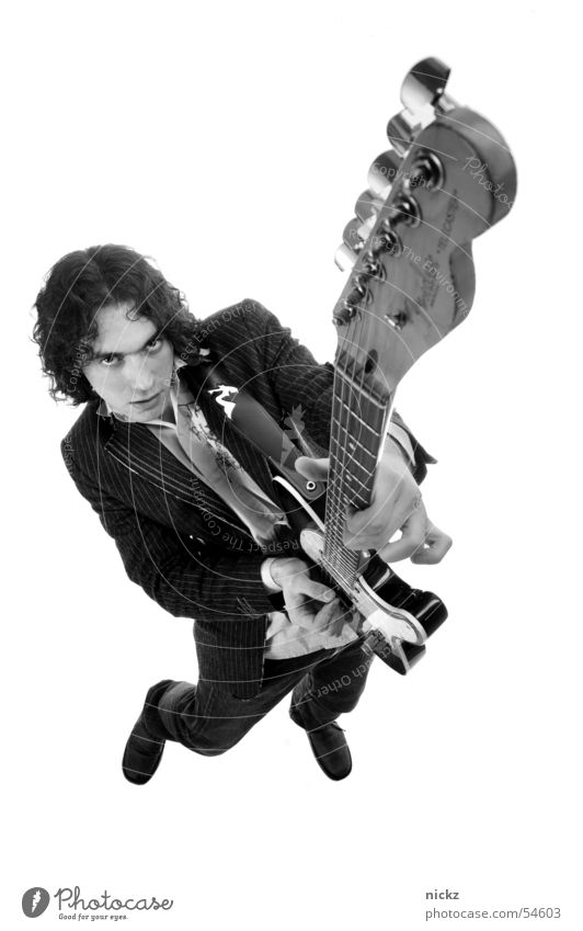 rocknroll 2 Man Studio shot guitar black suit Black & white photo B&W black lawsuit Black and white