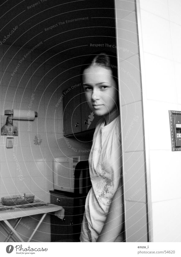 Regular people. Interior shot Girl Youth (Young adults) bw kitchen woman serenity