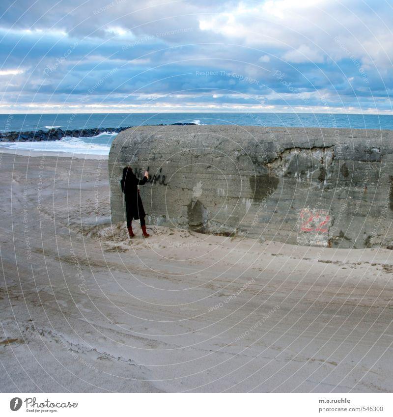 fairy tale Lifestyle Vacation & Travel Far-off places Freedom Beach Ocean Feminine Body 1 Human being Artist Environment Nature Landscape Coast Denmark Monument