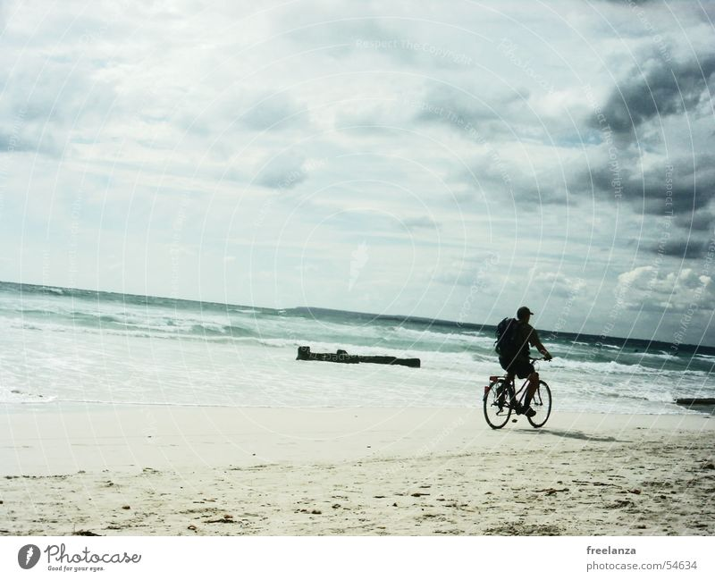 A day at the sea Bicycle Clouds Beach Backpack Water Sand Blue Rock