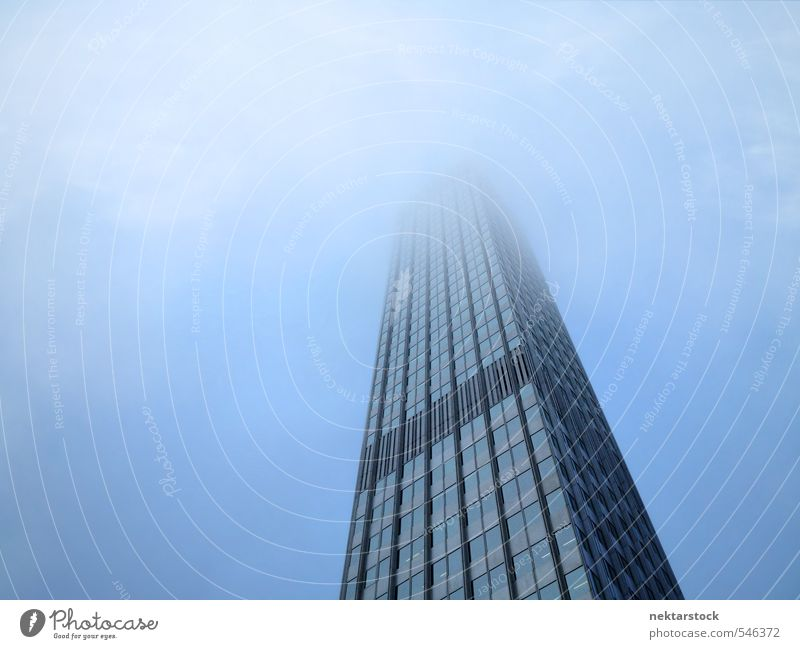 European Central Bank Frankfurt Office Economy Business Weather Bad weather Fog Germany Town Downtown Skyline Deserted High-rise Bank building Architecture Dark