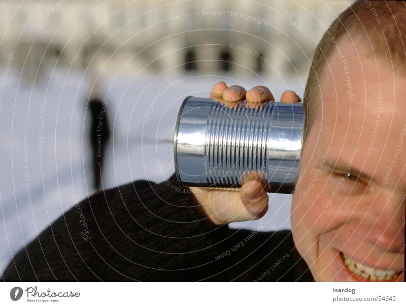 Man Laughter Telephone Tin To call someone (telephone) To talk Bush telephone