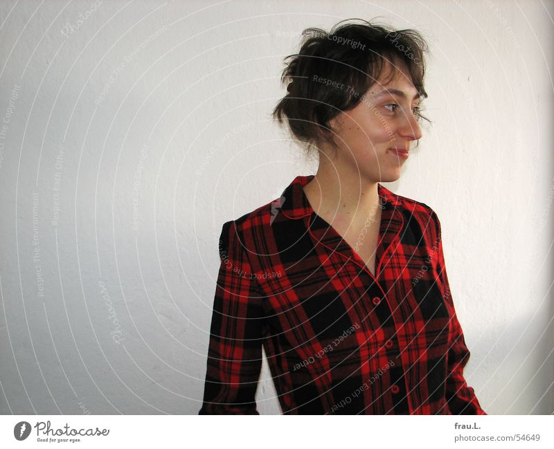 Woman Nature Face Wall (building) Window Laughter Clothing Happiness Dress Delicate Smooth Checkered Stewart tartan