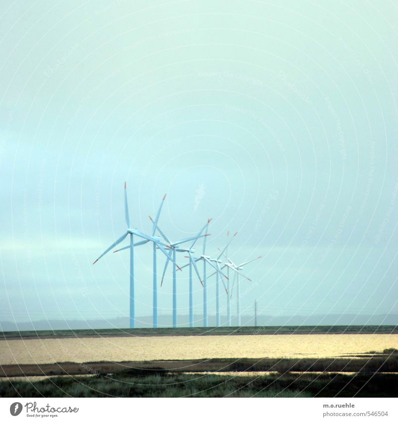 Sky Nature Blue Landscape Far-off places Environment Coast Air Wind Energy industry Future North Sea Wind energy plant Climate change Pinwheel