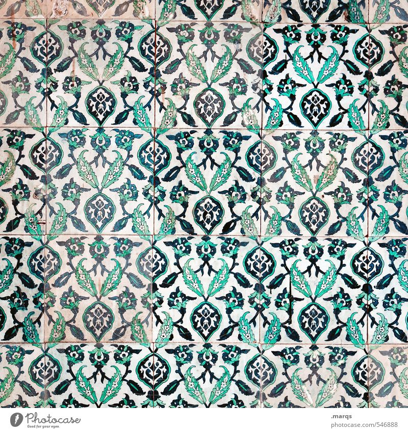 Tiled Lifestyle Elegant Style Design Art Culture Wall (barrier) Wall (building) Ornament Old Simple Beautiful Blue Green White Exotic Background picture