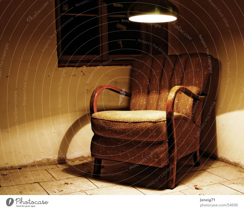 Sitting corner. Armchair Retro Chair back Wood Cloth Brown Calm Break Lamp Light Relaxation Seating Old Second-hand shine sit down take a seat