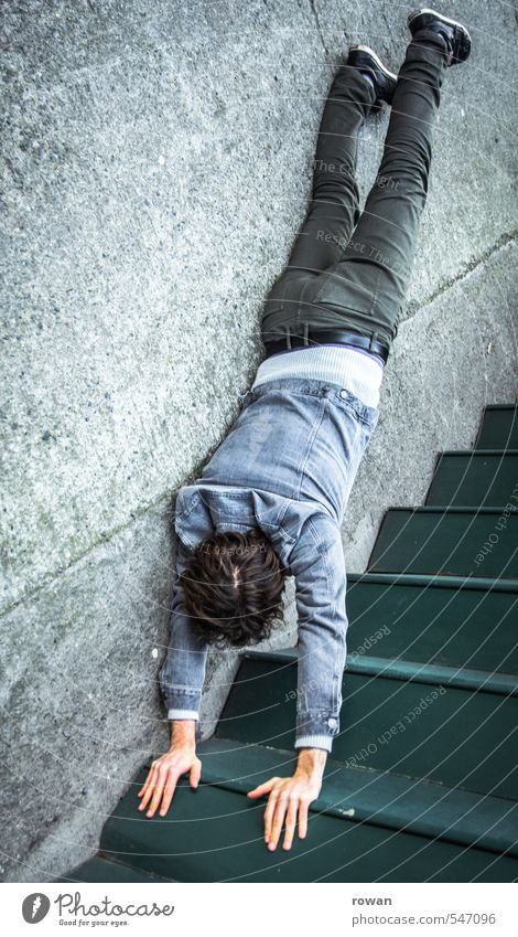 stairs handstand Human being Masculine Young man Youth (Young adults) Man Adults 1 Town Handstand Stairs Dangerous Acrobatics Gymnastics Illusion Trick Joke