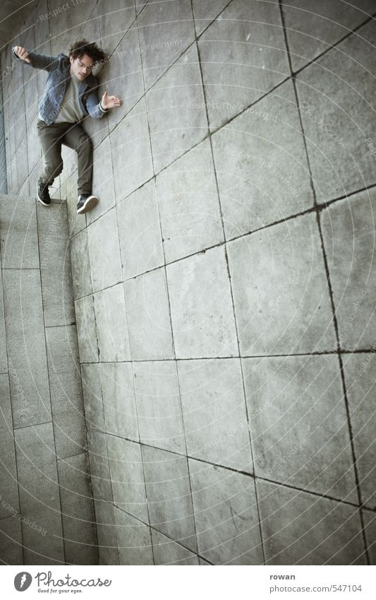 descent Human being Masculine Young man Youth (Young adults) Man Adults 1 Wall (barrier) Wall (building) Jump Brave Stress Distress Perturbed Trick Illusion