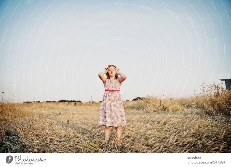 the horns show feminine Child Girl young girl Youth (Young adults) Young woman Infancy 8 - 13 years Environment Nature Landscape Cloudless sky Summer