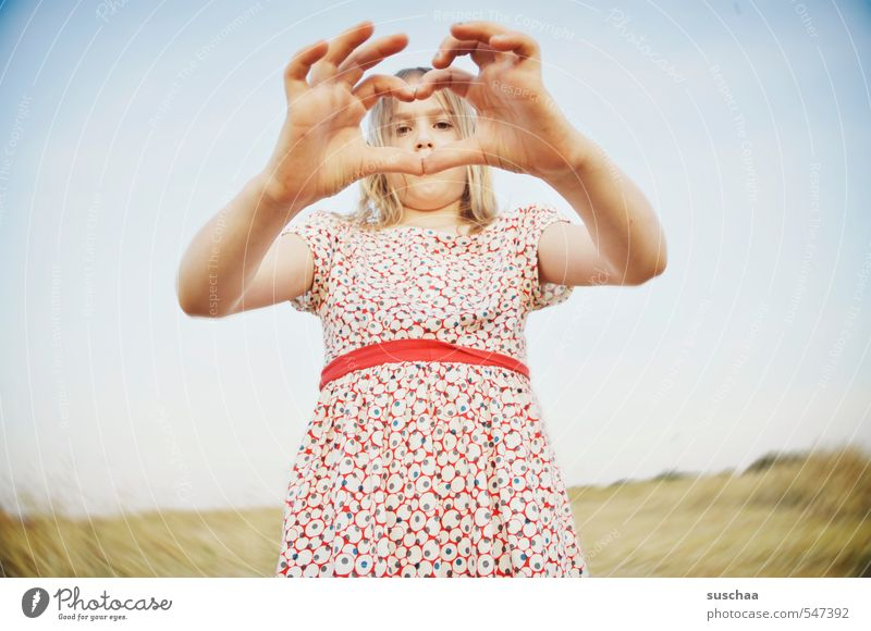 wordless declaration of love Child Infancy Girl Youth (Young adults) Young woman Hand Structures and shapes Heart Love Summer Dress Affection Valentine's Day