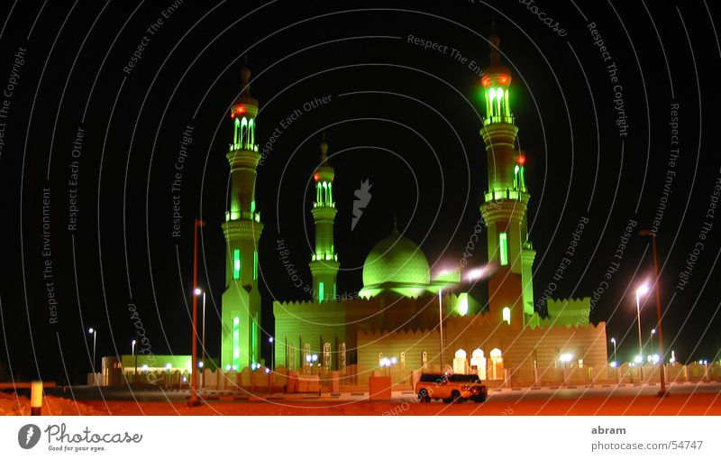 Joy Freedom Religion and faith Large Tower Desert Passion Luxury Visual spectacle Islam Near and Middle East Mosque House of worship Allah Night light