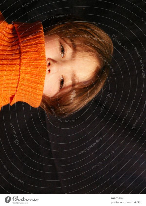 matter of opinion Child Girl Sweater Head Hair and hairstyles Eyes nose turtleneck orange