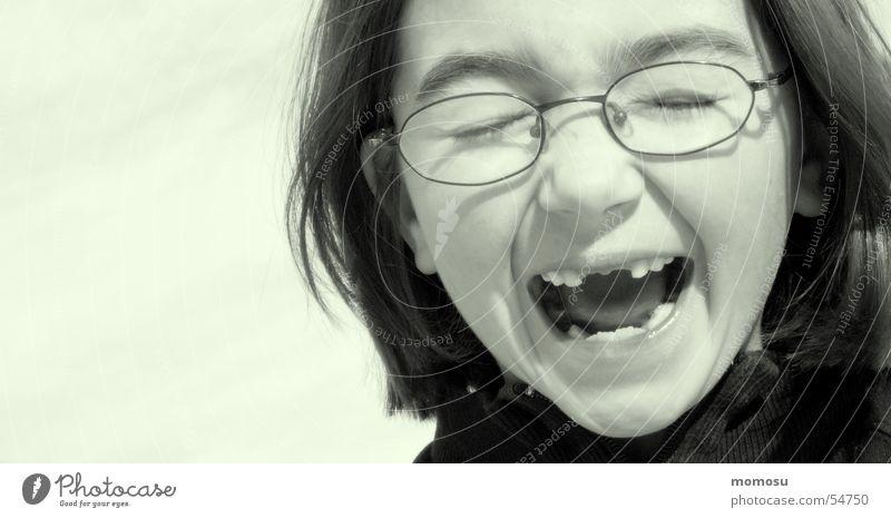 ...toothless Child Girl Eyeglasses Tooth space Scream Schoolchild Head portait Detail