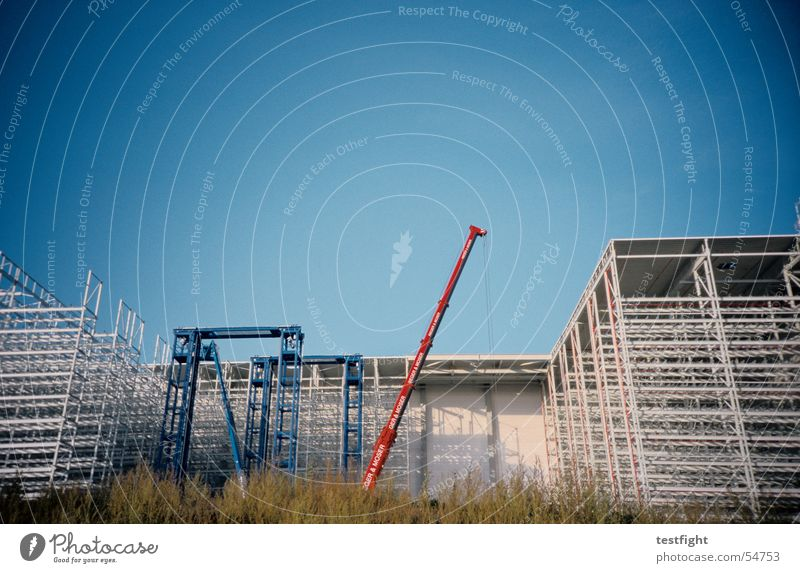 construction site Construction site Crane Building Industrial Photography Town Sky Summer Scaffold Warehouse reverberation Sun Blue Beautiful weather