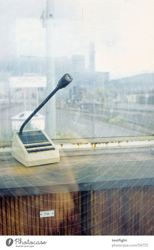 announce Stuttgart Microphone Reflection Window Town Train station announcement Railroad railway station