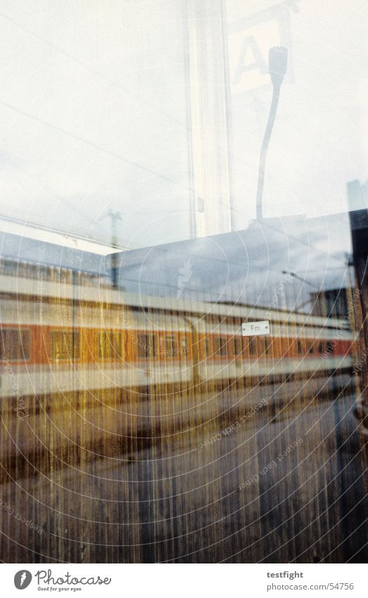 Railway Stuttgart Microphone Reflection Window Town Train station announcement Railroad railway station