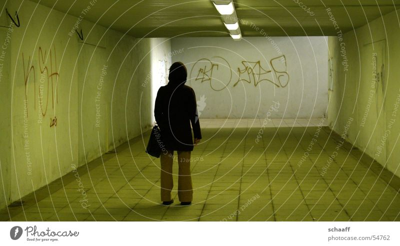 Lonely? Commuter trains Tunnel Loneliness Woman graffiti Train station Underpass