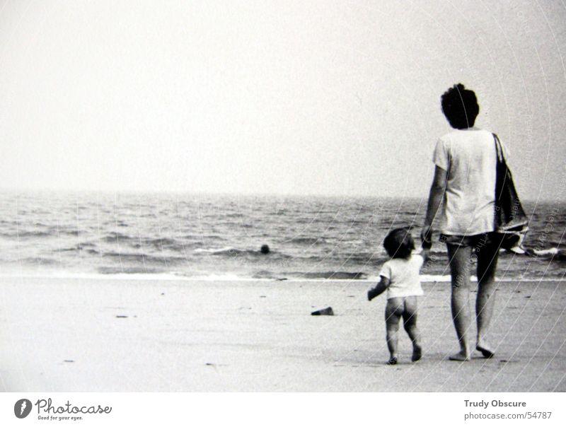ocean breathes salty... Ocean Beach Woman Child Black White Horizon Hand T-shirt Waves Sand Sky Legs