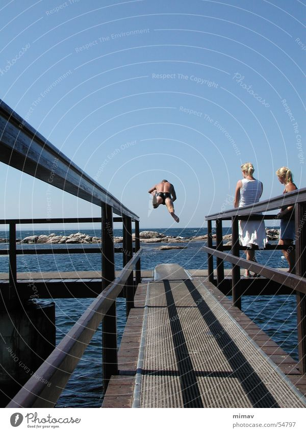 Head jump from behind Ocean Audience Headfirst dive Springboard Bornholm Swimming pool Blonde pea island Aviation Denmark