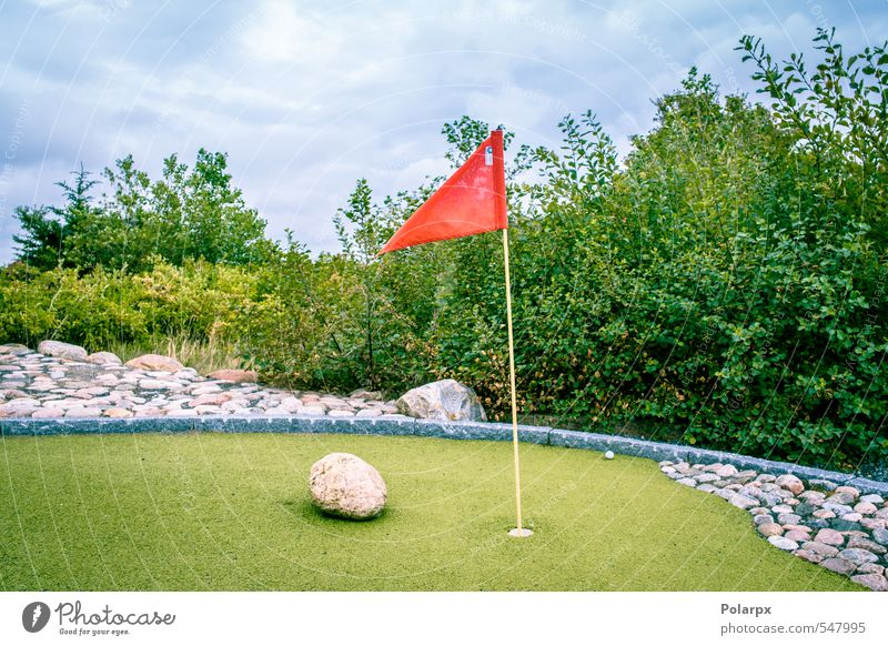Miniature golf Vacation & Travel Green Summer Red Relaxation Joy Sports Grass Playing Small Garden Park Leisure and hobbies Lifestyle Success Flag