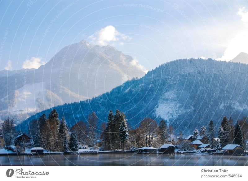 Winter in the mountains Nature Landscape Water Sky Clouds Sunlight Beautiful weather Ice Frost Snow Hill Rock Alps Mountain Snowcapped peak Lake Observe Freeze