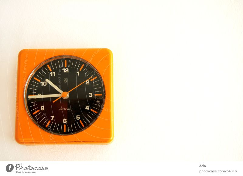 new age Clock Time Retro Wall clock Sixties Seventies Orange Clock hand