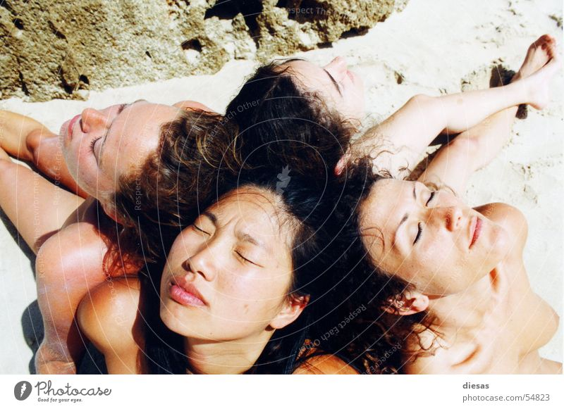 Woman Beach Calm Relaxation Feminine Nude photography Friendship Together Open Natural Skin Breasts Trust To enjoy Analog Sunbathing