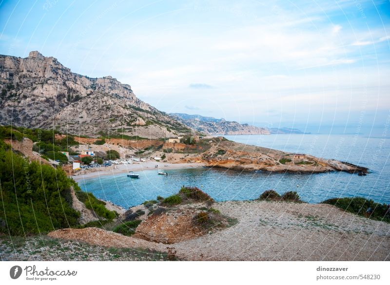 Azure waters of bay in Calanqus natural park, Marseille Sky Nature Vacation & Travel Blue Green Summer Tree Ocean Landscape Mountain Coast Stone Rock Watercraft