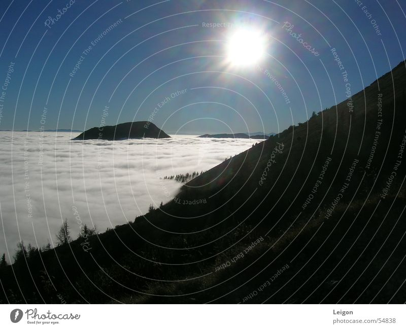 White Sun Green Clouds Autumn Mountain Austria Blue sky Mount Hohe Veitsch