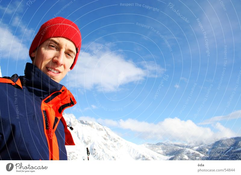 snow and sun - a winter dream Mammoth Extreme Jacket Winter Portrait photograph Clouds Cold Alpine Snow Mountain Face Sky