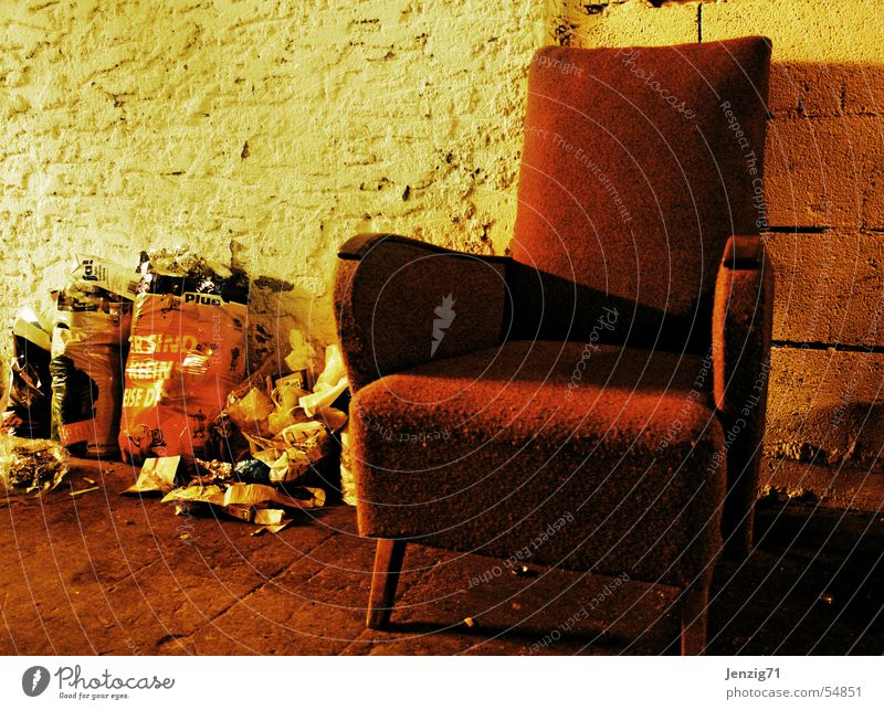 Relax a minute! Relaxation Calm Break Armchair Trash Trash container Sit Odor Dirty waste litter smell punchent stench Malodorous
