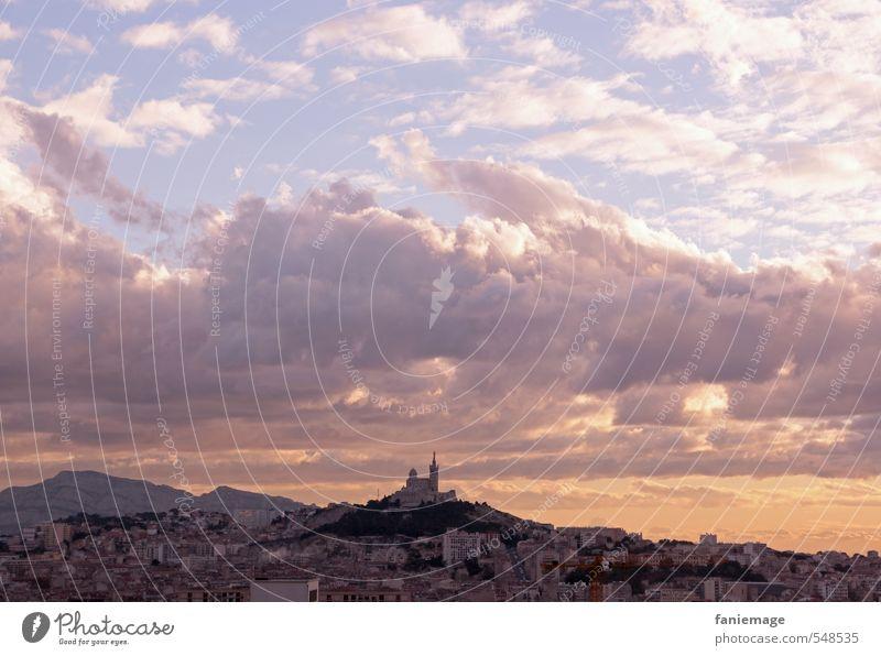 Notre-Dame de la Garde Marseille France Capital city Port City Church Landmark Souvenir Moody Belief Esthetic Clouds Clouds in the sky Dusk Pink Orange