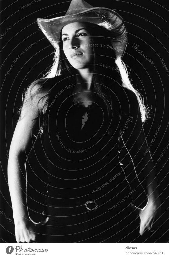 Female cowboy Woman Cowboy Studio shot Black & white photo
