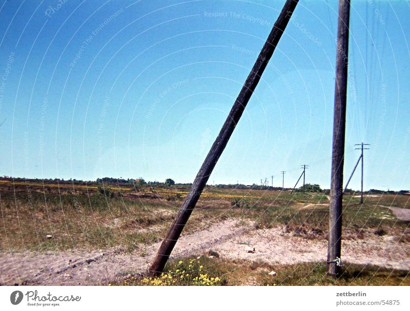 Sky Ocean Loneliness Far-off places Freedom Landscape Baltic Sea Steppe Telegraph pole Sky blue Hiddensee Sandy path