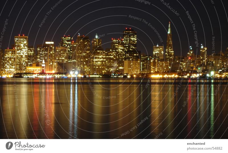San Francisco at night California Night Long exposure High-rise Reflection USA Light Bay Skyline Water Lamp Town
