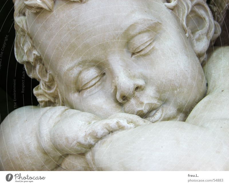 Child Hand Face Eyes Dream Stone Mouth Baby Arm Sleep Closed Angel Ear Peace Kitsch Overweight