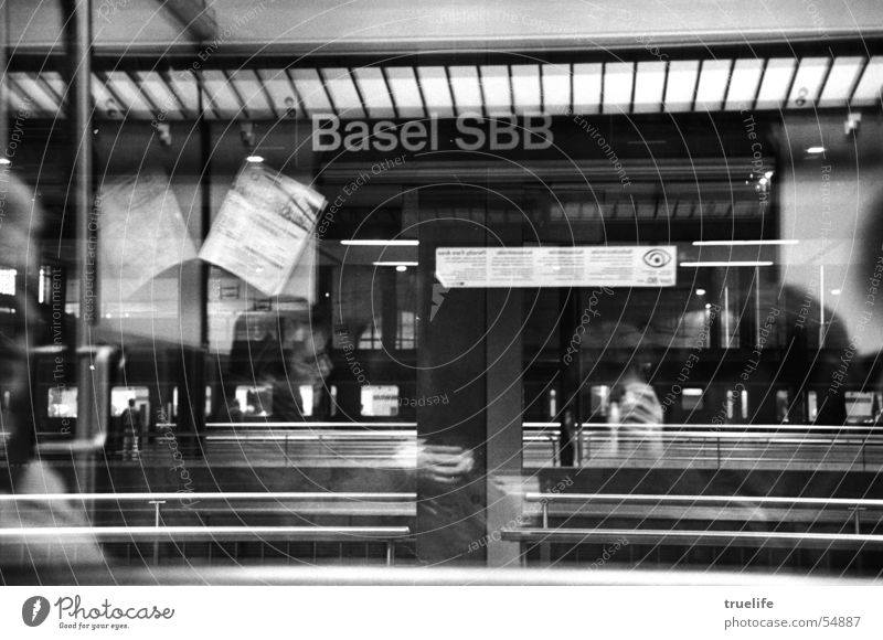 Basel SBB Switzerland Arrival Railroad Means of transport Window Reflection Train station Vacation & Travel Black & white photo Ski-run Motion blur Slice